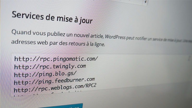 photo de la liste des services de ping sur wordpress
